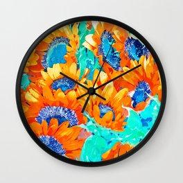 Sunflower Garden #nature #painting Wall Clock