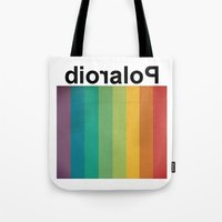 polaroid Tote Bags featuring POLAROID by WordsnStripes