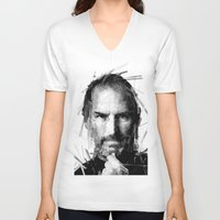 steve jobs V-neck T-shirts featuring STEVE JOBS by Raditya Giga