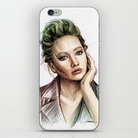 jennifer lawrence iPhone & iPod Skins featuring Jennifer Lawrence by Creadoorm