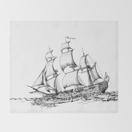 sailing ship . Home decor Graphicdesign Throw Blanket