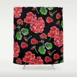 Red Geranium with black background Shower Curtain