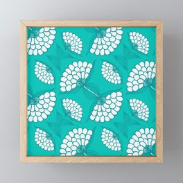 African Floral Motif on Turquoise Framed Mini Art Print