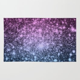 Galaxy Sparkle Stars Dark Mauve Steel Blue Rug