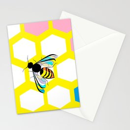 A Yellow Honeycomb and bee with Pink, Blue and Lavender Stationery Cards