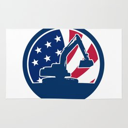 American Excavator USA Flag Icon Rug