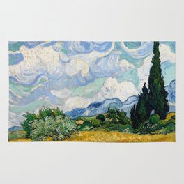 Wheat Field with Cypresses Rug