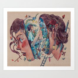 Inside her head Art Print