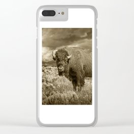American Buffalo in Sepia Tone Clear iPhone Case