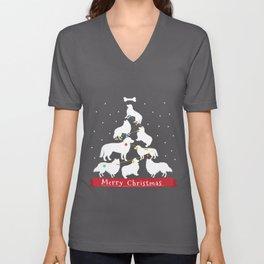 Border Collie Christmas Tree  Unisex V-Neck
