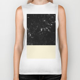 Light Blush Yellow Meets Black Marble #1 #decor #art #society6 Biker Tank