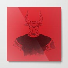 Angry Young Minotaur - RED Metal Print
