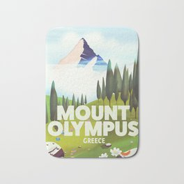 Mount Olympus, Greece, Travel poster Bath Mat