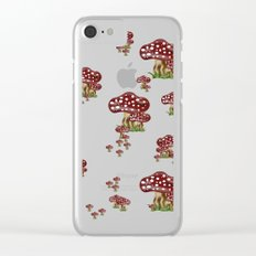 Mushrooms red and white Clear iPhone Case
