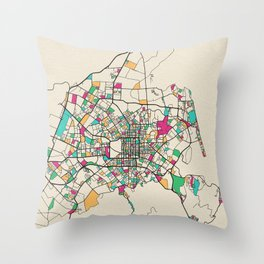 Colorful City Maps: Christchurch, New Zealand Throw Pillow
