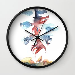 Mad dog - Row dog - Shaggy guy - Watercolor Wall Clock