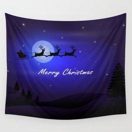 Reindeer pulling Santa's Sleigh Wall Tapestry