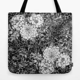 Dahlias & Peonies Black Tote Bag