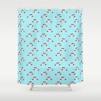 taxi driver Shower Curtains featuring Indian taxi wallpaper by funkyworm