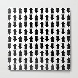 Minimalist black white modern arrows pattern Metal Print