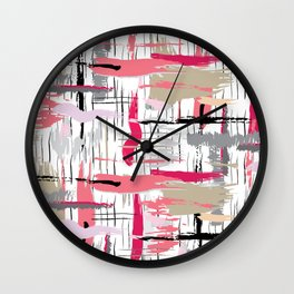 Pink Brushstroke Wall Clock
