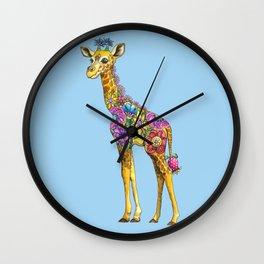 Geraldine the Geniunely Nice Giraffe Blue Wall Clock