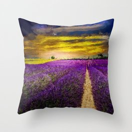 Fields of Gold Sunset and Lavender Blossoms landscape painting Throw Pillow