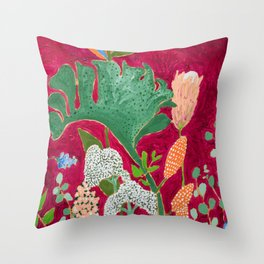 Fuchsia Pink Floral Jungle Painting Throw Pillow