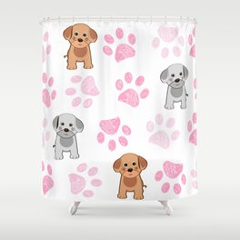 Cute dog and doodle paw prints pink paws pattern Shower Curtain
