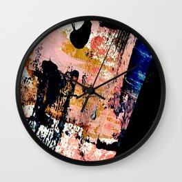 01016 : a bold abstract in pink, orange, blue, and black Wall Clock
