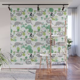 Happy Sloth Jungle Party Wall Mural