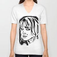 jennifer lawrence V-neck T-shirts featuring Jennifer Lawrence Stencil Portrait by Lucky art