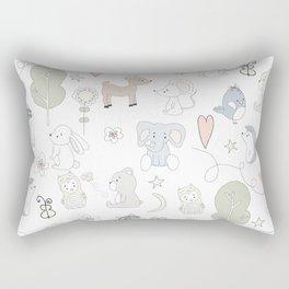 Hand Drawn Cute Animals Rectangular Pillow