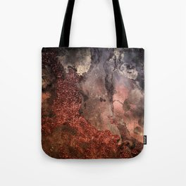 Copper Glitter Stone and Ink Abstract Gem Glamour Marble Tote Bag