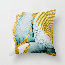 Abstract seamless pattern with tropical leaves. Hand draw texture. Art and Gold illustration Throw Pillow