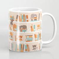 library Mugs featuring Library cats by Heleen van Buul