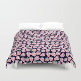 Pink Strawberry pattern on purple background Duvet Cover