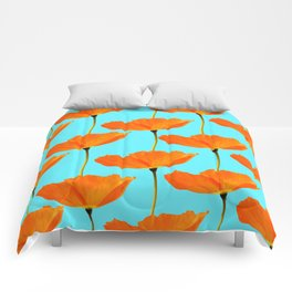 Poppies On A Turquoise Background #decor #society6 #buyart Comforters