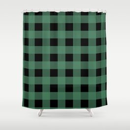 Green Flannel Shower Curtain