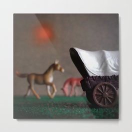 The Horses & The Covered Wagon Metal Print
