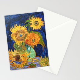 Van Gogh, Five Sunflowers 1888 Artwork Reproduction, Posters, Tshirts, Prints, Bags, Men, Women, Kid Stationery Cards