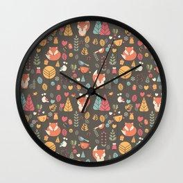 Baby fox pattern 04 Wall Clock