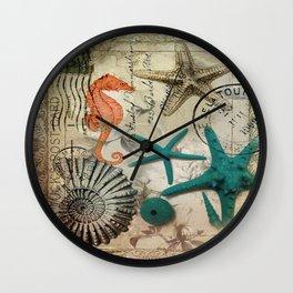 french botanical art seahorse teal green starfish Wall Clock