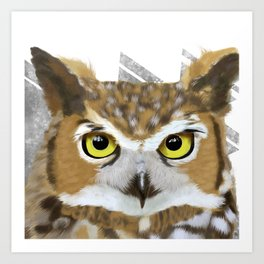 Great Horned Owl & Poly Thoughts Art Print