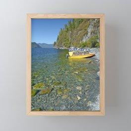 motor boats on the shore of a mountain lake Framed Mini Art Print