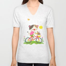 Cat on a bike Unisex V-Neck