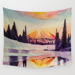 Winter Wonderland in Mount Rainer Wall Tapestry