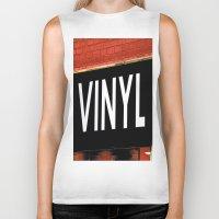 vinyl Biker Tanks featuring Vinyl by Biff Rendar