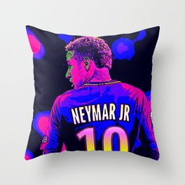 Neon Neymar Throw Pillow