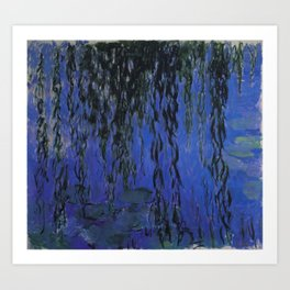 "Claude Monet ""Water Lilies and Weeping Willow Branches"", 1919 Art Print"